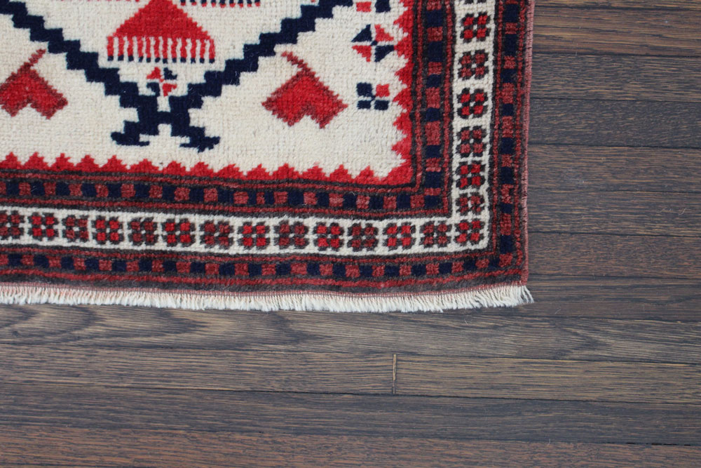 Red And Blue Patterned Vintage Turkish Runner Angle 2