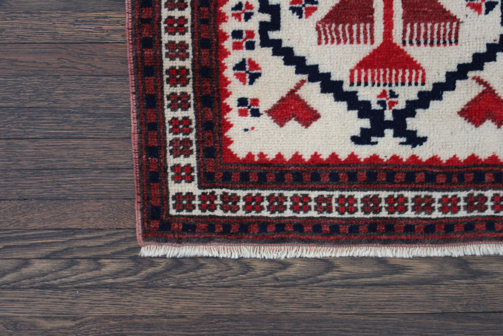 Red And Blue Patterned Vintage Turkish Runner Angle 3