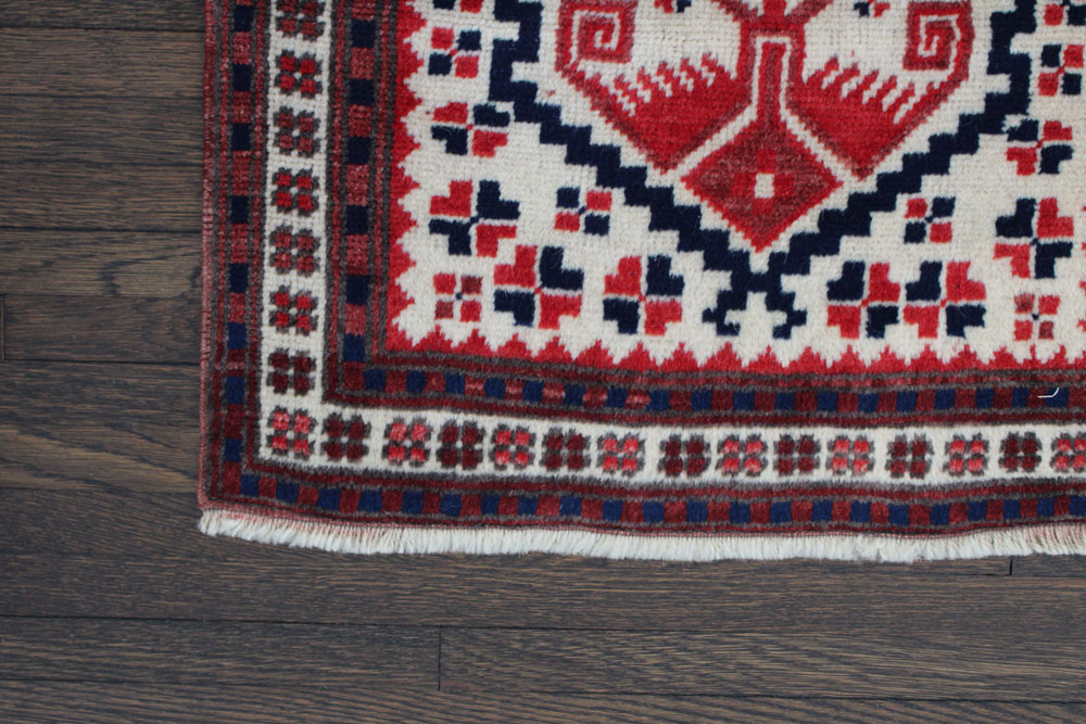 Red And Blue Patterned Vintage Turkish Runner Angle 4