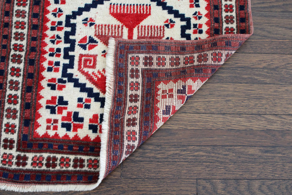 Red And Blue Patterned Vintage Turkish Runner Angle 5