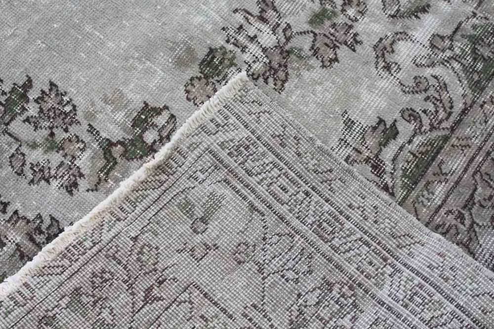 Gray Patterned Vintage Turkish Area Rug Angle 5