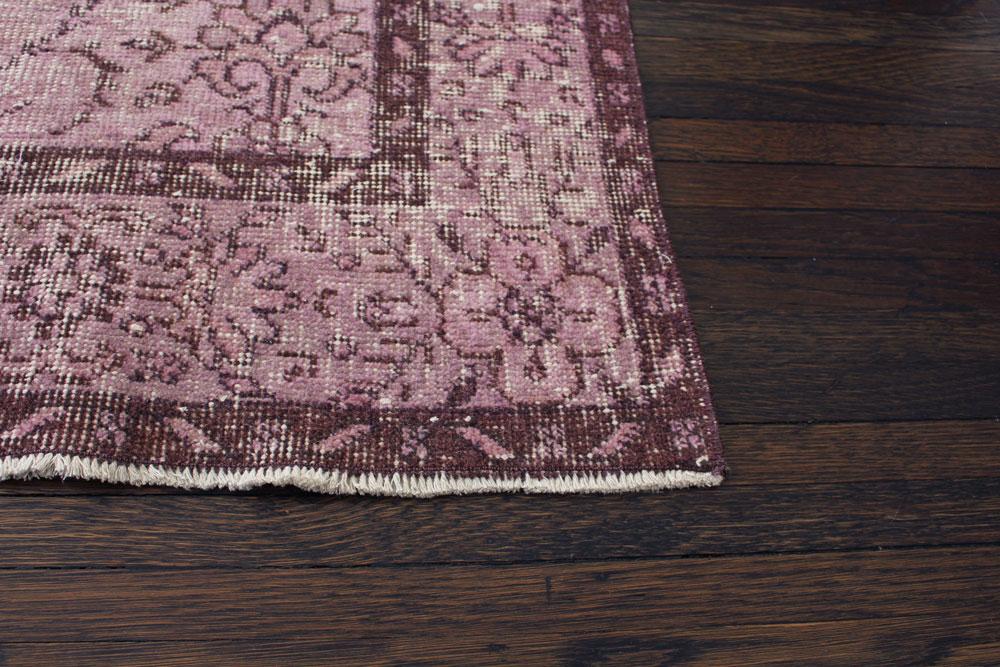 Purple Patterned Vintage Turkish Area Rug Angle 2