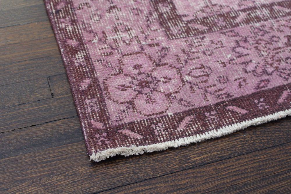 Purple Patterned Vintage Turkish Area Rug Angle 3
