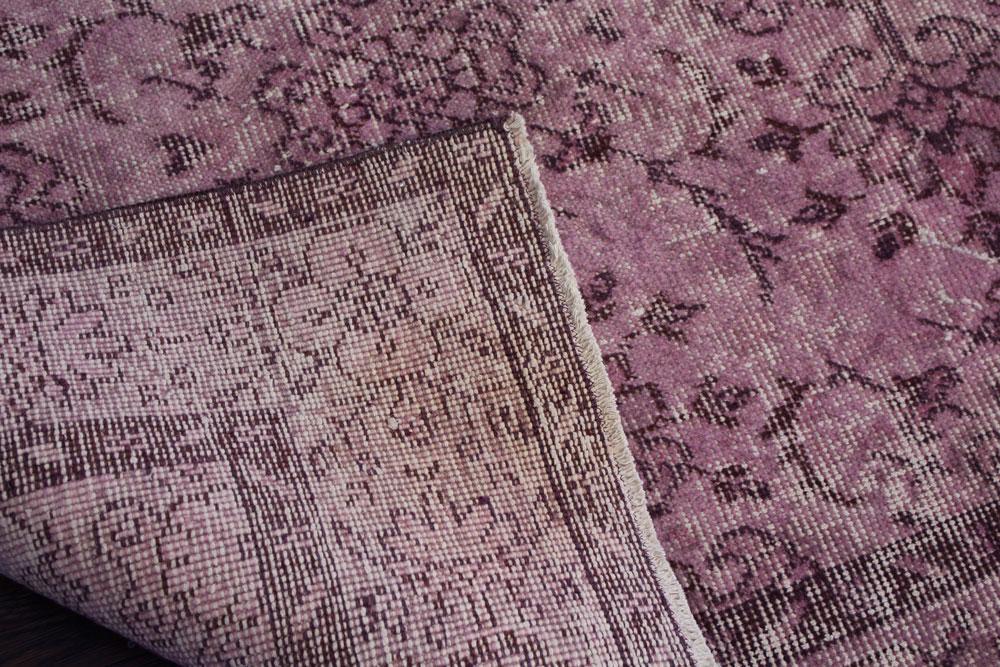 Purple Patterned Vintage Turkish Area Rug Angle 4