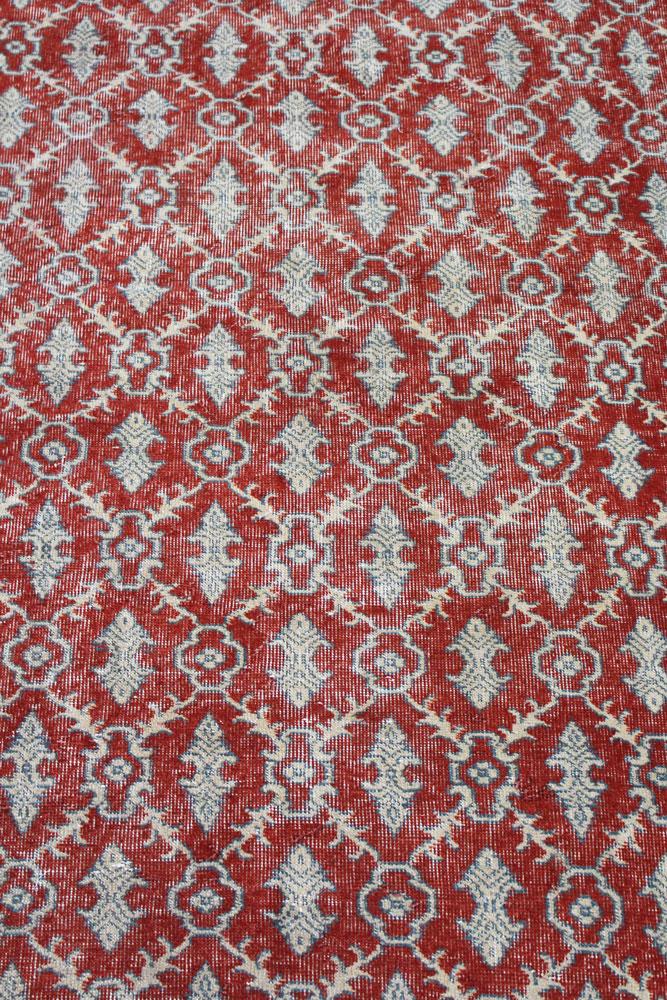 Rust Patterned Vintage Turkish Area Rug Angle 1