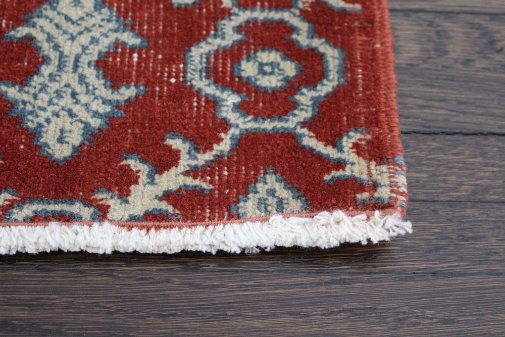 Rust Patterned Vintage Turkish Area Rug Angle 3