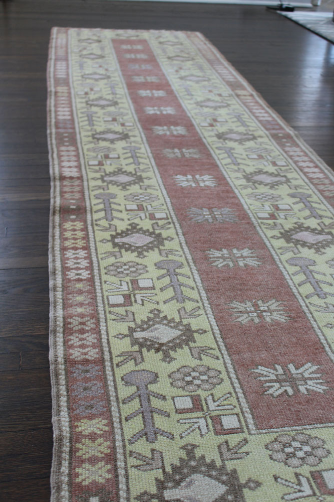 Rust And Yellow Patterned Vintage Turkish Runner Angle 1