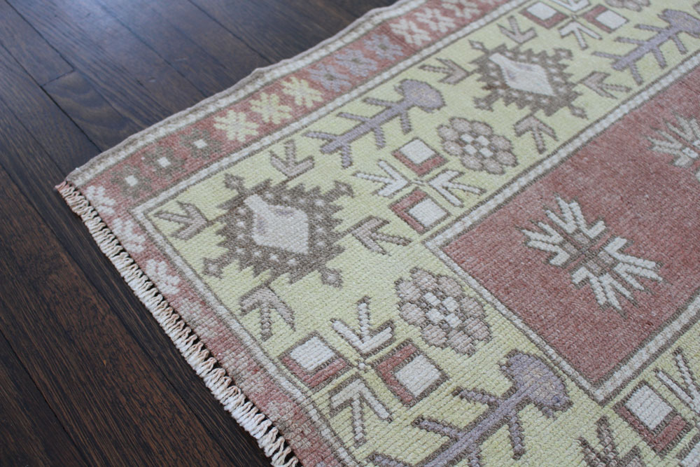Rust And Yellow Patterned Vintage Turkish Runner Angle 2