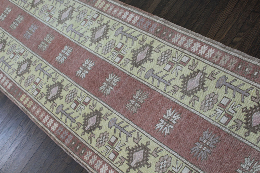Rust And Yellow Patterned Vintage Turkish Runner Angle 3