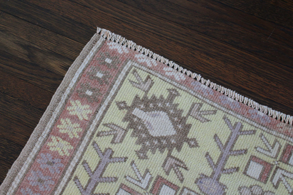 Rust And Yellow Patterned Vintage Turkish Runner Angle 4