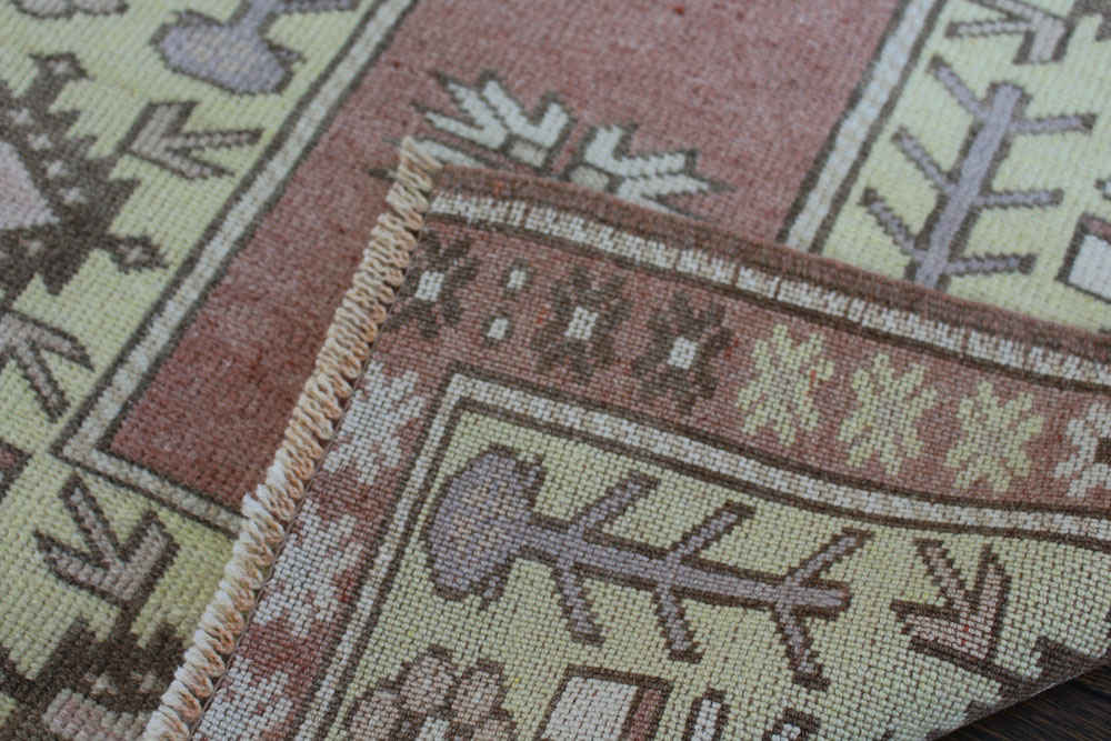 Rust And Yellow Patterned Vintage Turkish Runner Angle 5