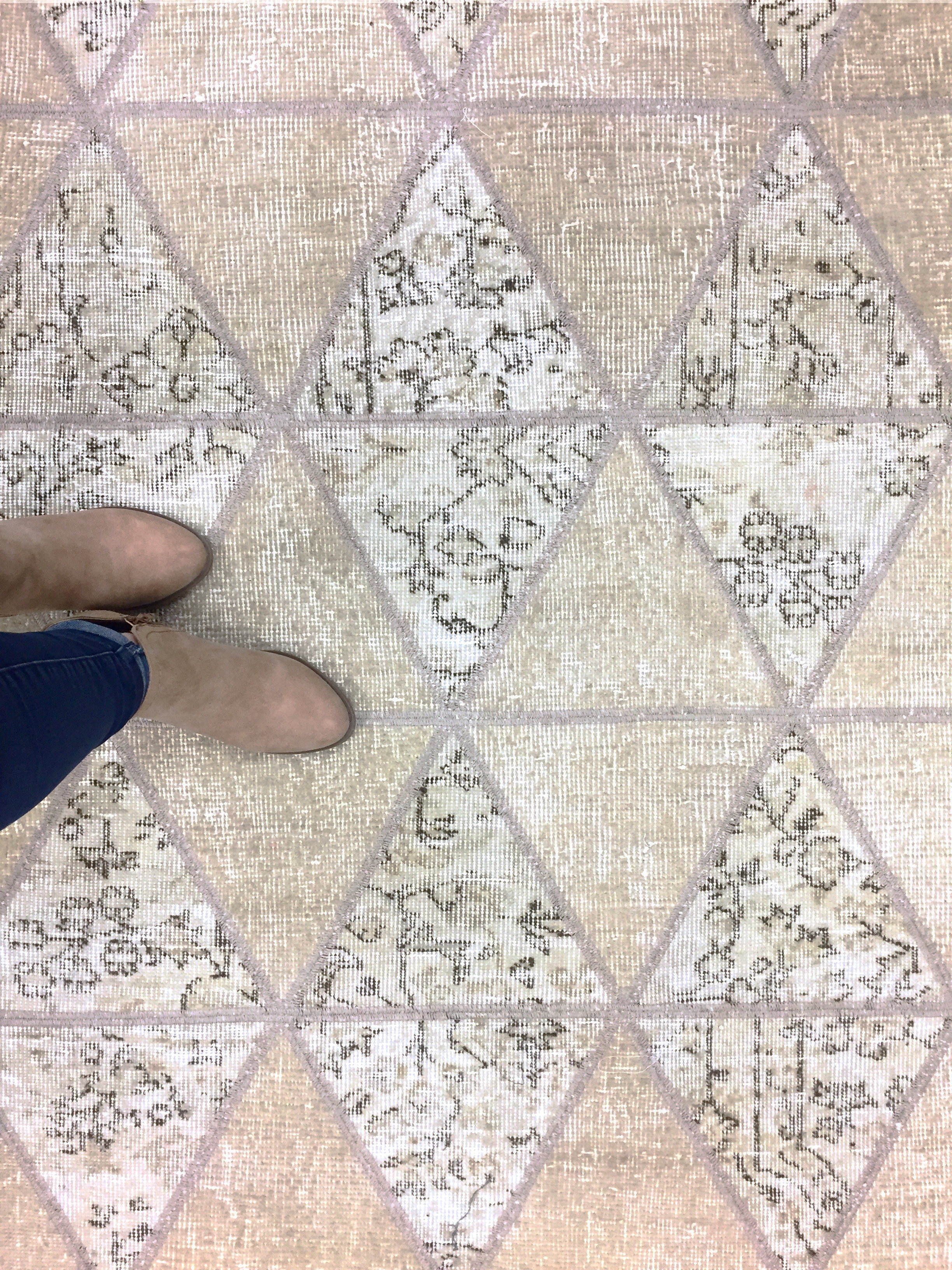 Beige Neutral Triangle Patterened Tiled Area Rug Overhead