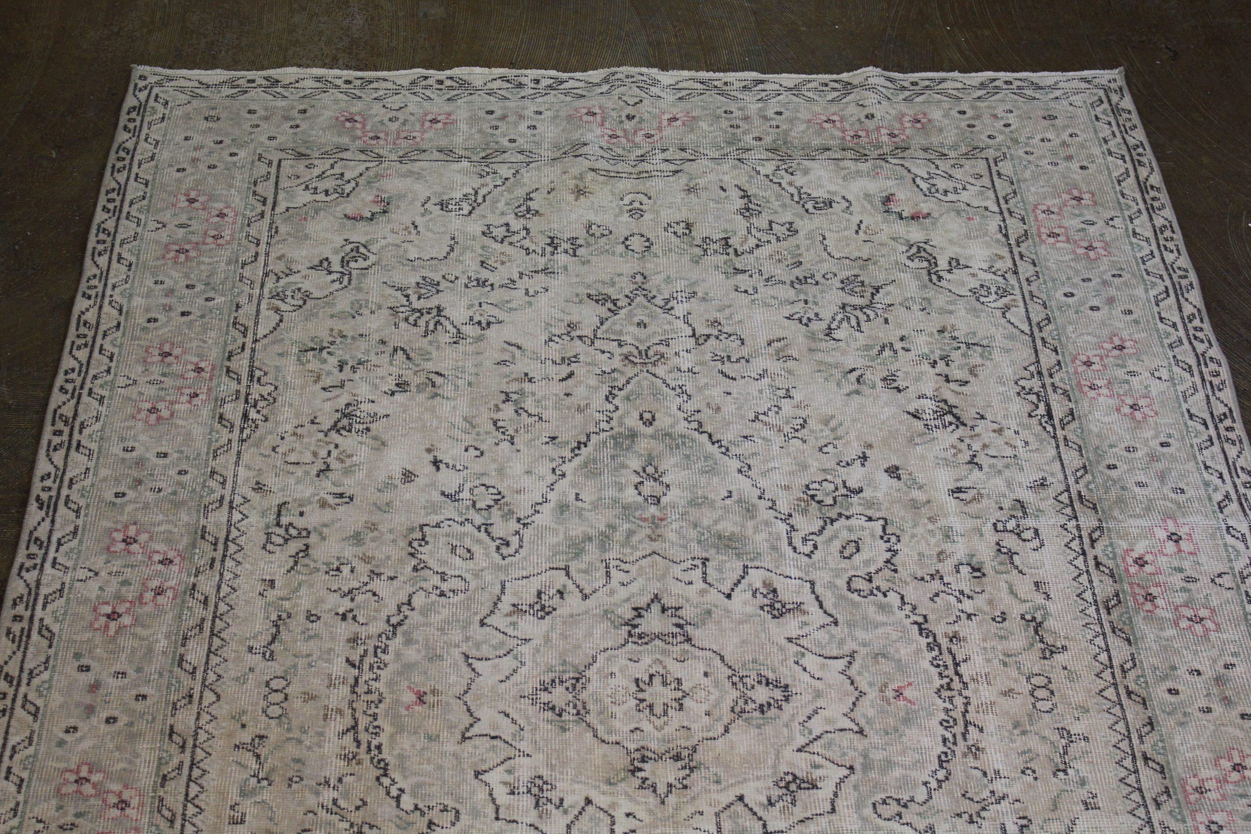 Beigegreenpink Vintage Turkish Area Rug 1.jpg