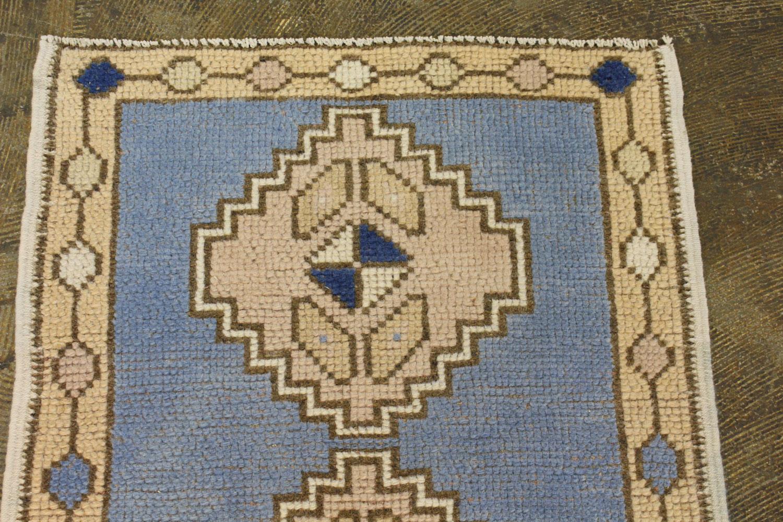 Blue Beige Tan Turkish Vintage Prayer Scatter Rug3