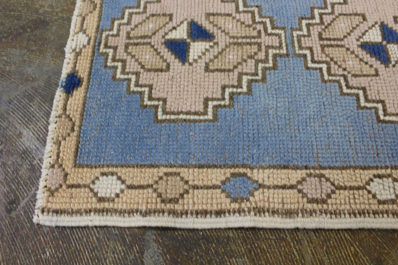 Blue Beige Tan Turkish Vintage Prayer Scatter Rug4