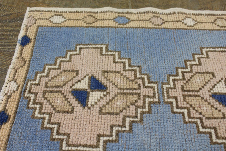 Blue Beige Tan Turkish Vintage Prayer Scatter Rug5