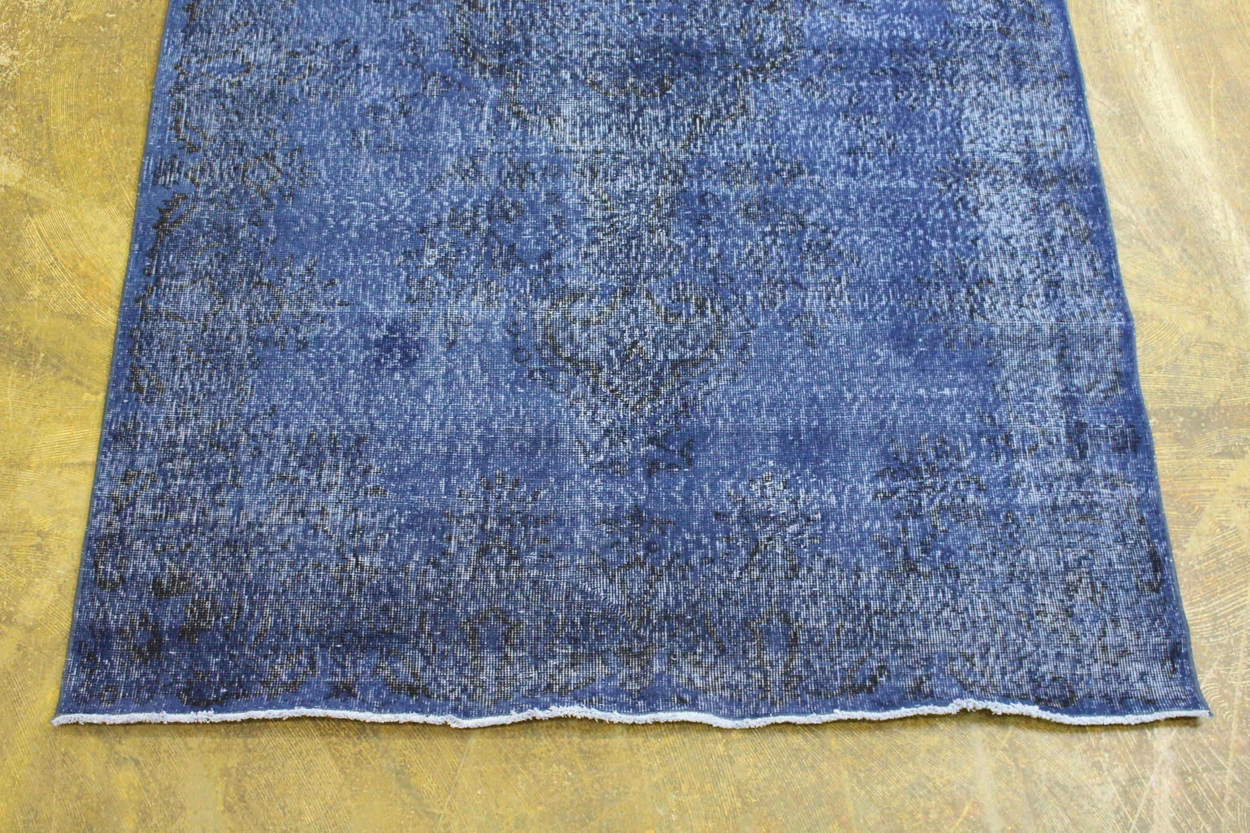 Blue Patterned Overdyed Turkish Vintage Rug1