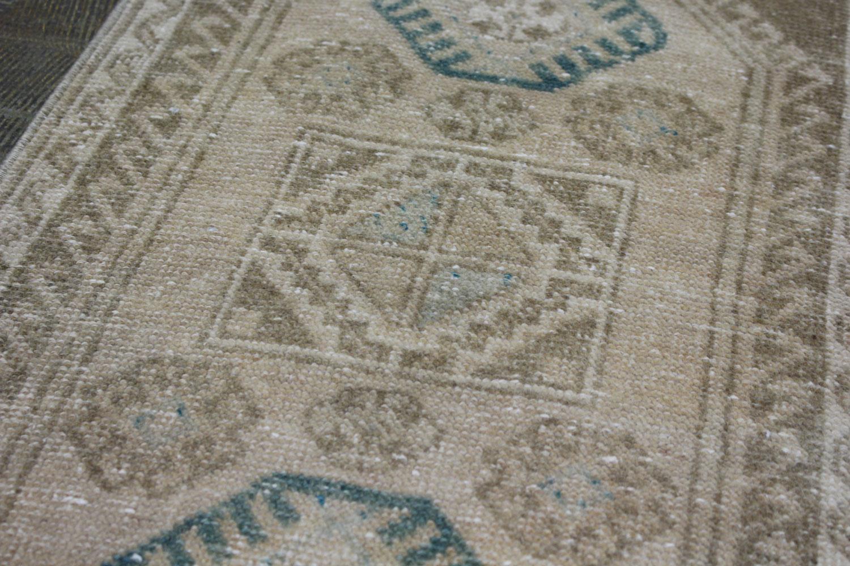 Brown Tan Blue Turkish Vintage Prayer Scatter Rug
