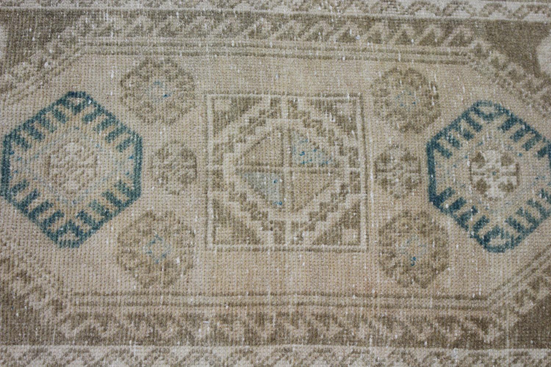 Brown Tan Blue Turkish Vintage Prayer Scatter Rug2
