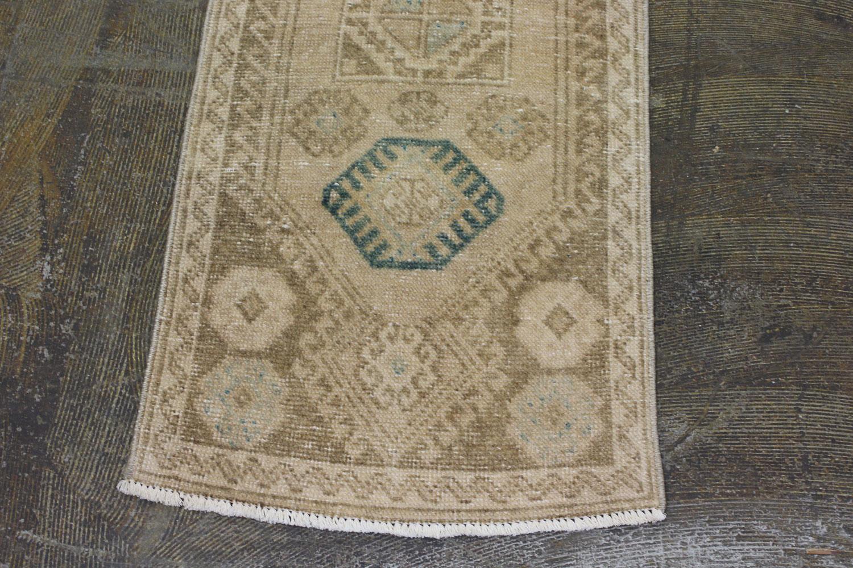Brown Tan Blue Turkish Vintage Prayer Scatter Rug4