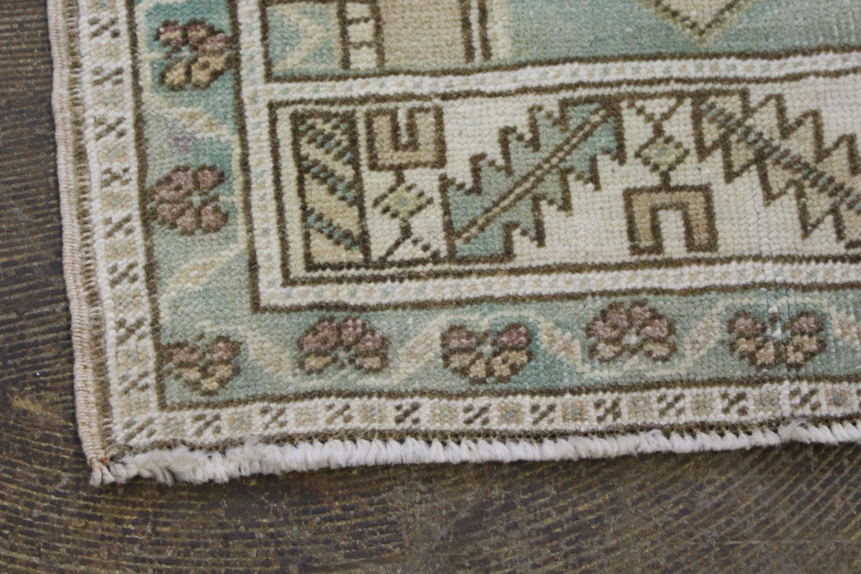 Mint Green Tan Turkish Vintage Prayer Scatter Rug1