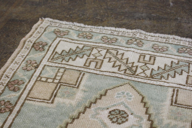 Mint Green Tan Turkish Vintage Prayer Scatter Rug3
