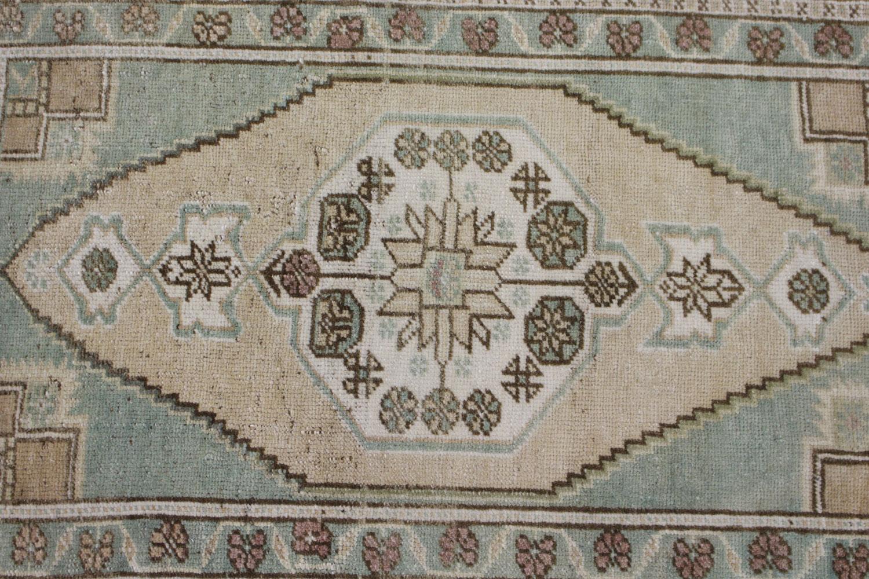Mint Green Tan Turkish Vintage Prayer Scatter Rug5