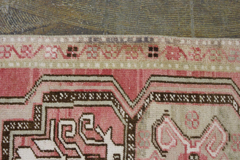 Pink Brown Tan Turkish Vintage Scatter Prayer Rug4