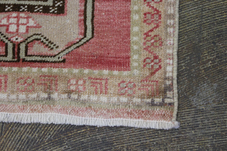 Pink Brown Tan Turkish Vintage Scatter Prayer Rugweb2