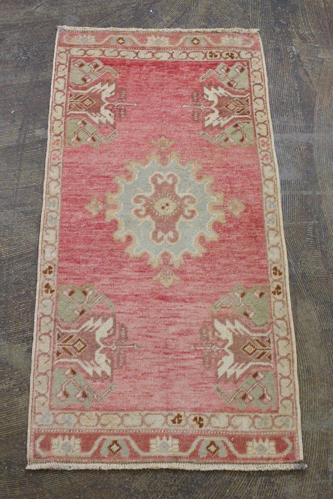 Pink Cream Blue Turkish Vintage Scatter Prayer Rug4