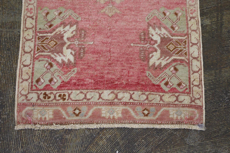 Pink Cream Blue Turkish Vintage Scatter Prayer Rug5