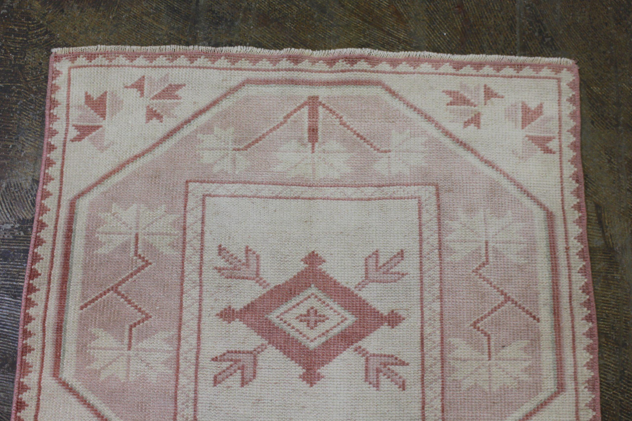 Pink Cream Oushak Vintage Runner1