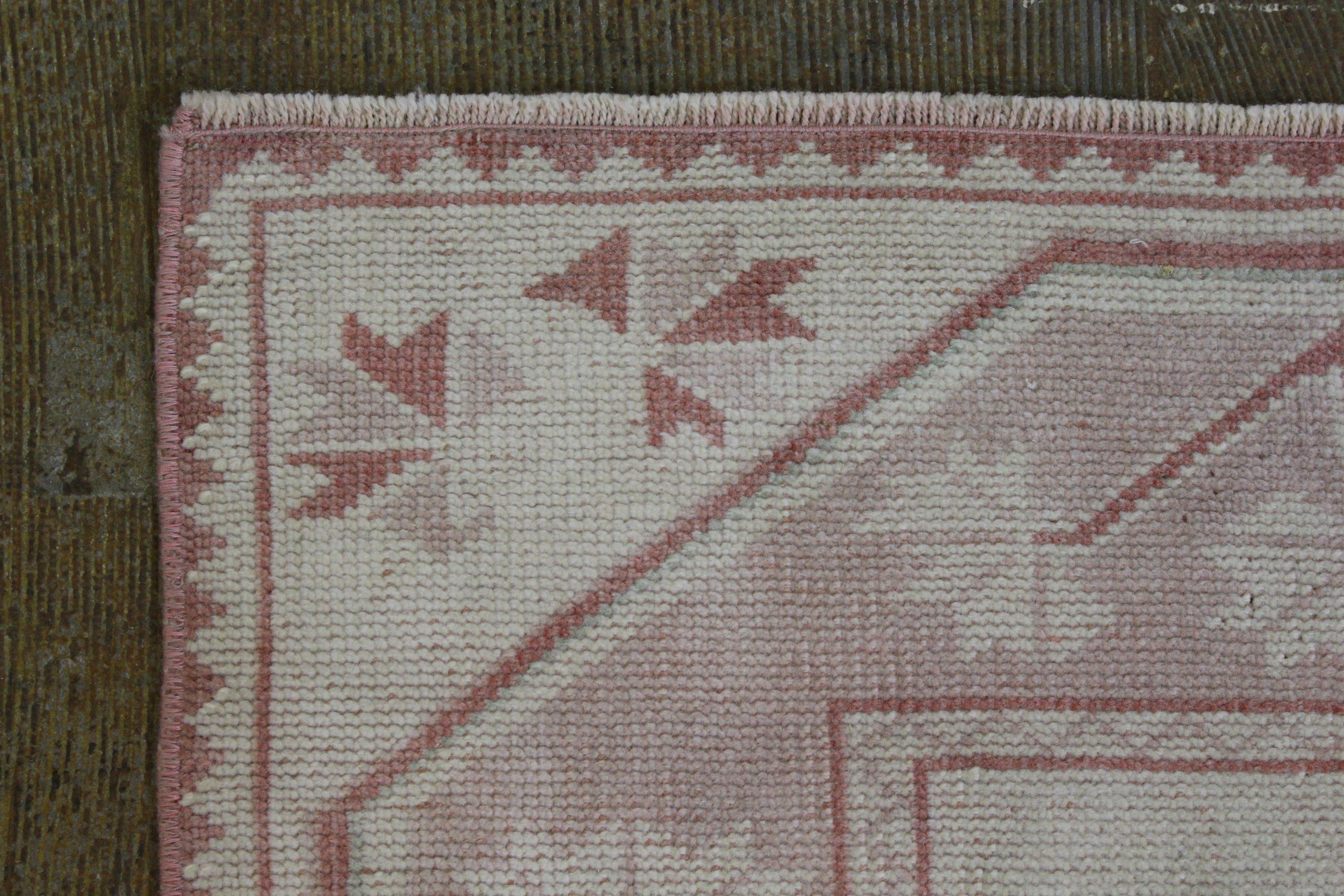 Pink Cream Oushak Vintage Runner5