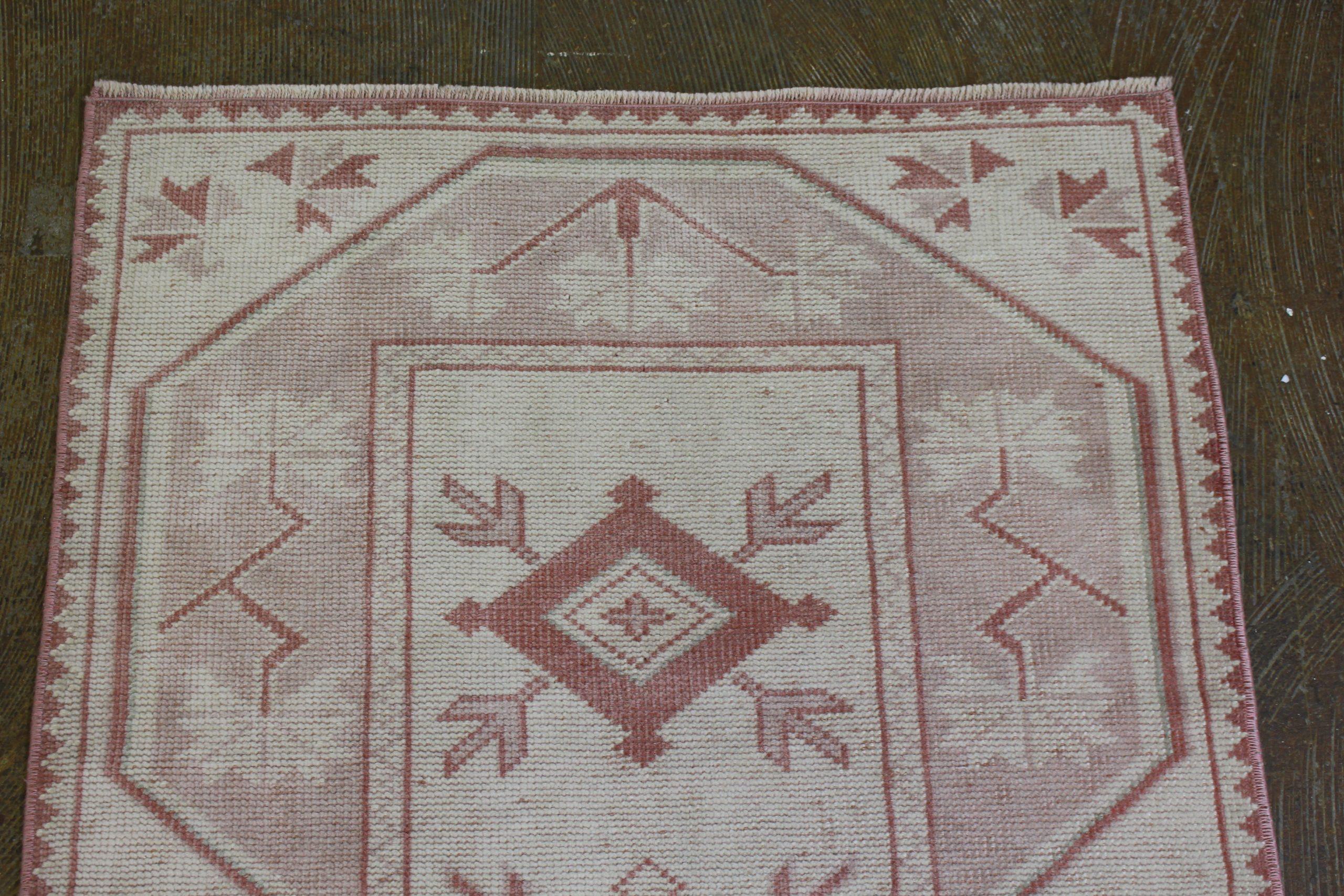 Pink Cream Oushak Vintage Runner6