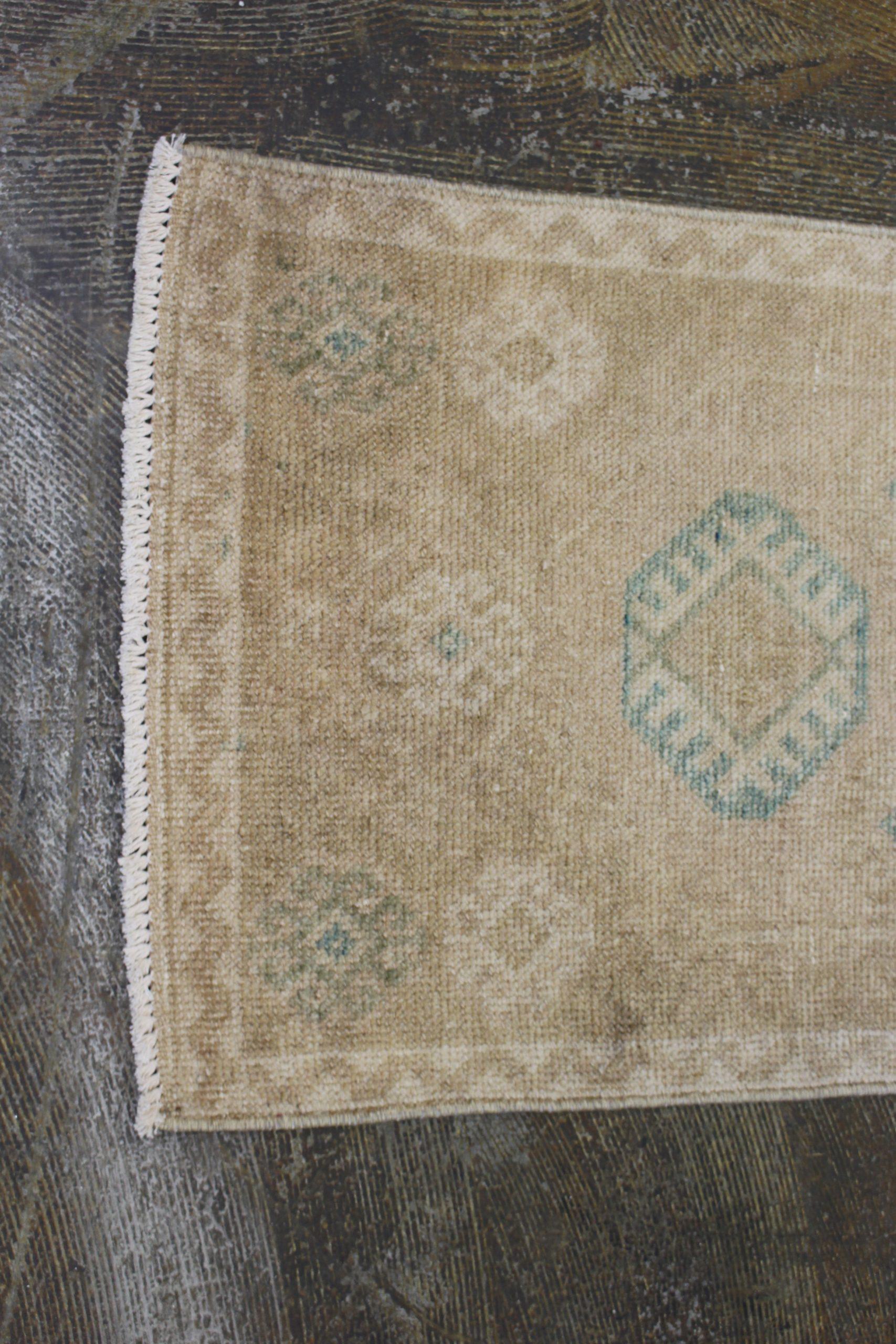 Tan Blue Turkish Vintage Prayer Scatter Rug1